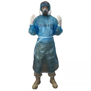 Hooded impervious medical isolation gown for use with respirator