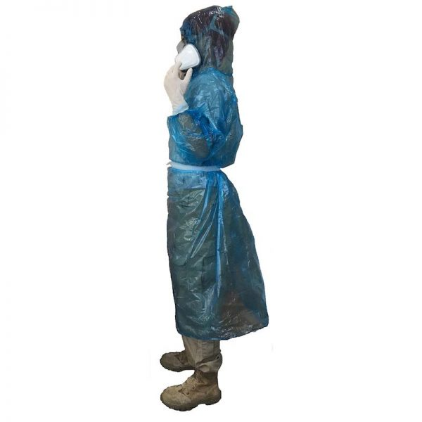 Hooded impervious medical isolation gowns