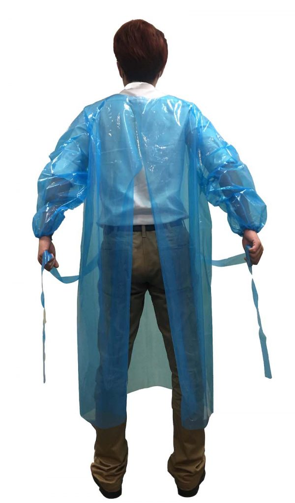 'Open back' version of our impervious isolation gown provides ample ventilation for the user