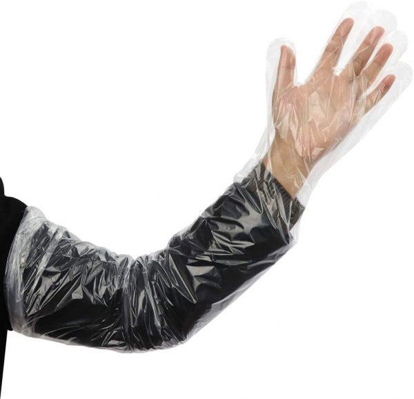 Transparent PE shoulder length PE gloves